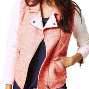 Anthropologie Elevenses Blush Tweed Moto Jacket.